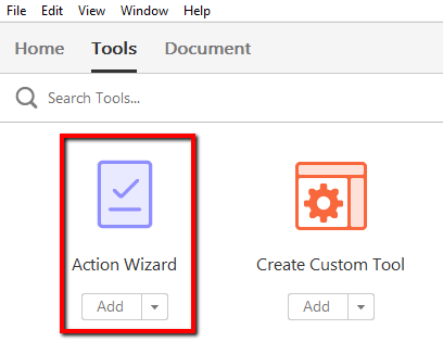 Action Wizard icon under Tools.