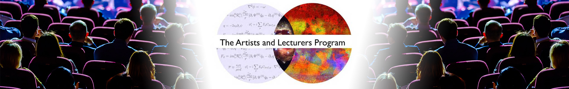 Artists and Lecturers Program logo with many students in auditorium seats watching a presentation.