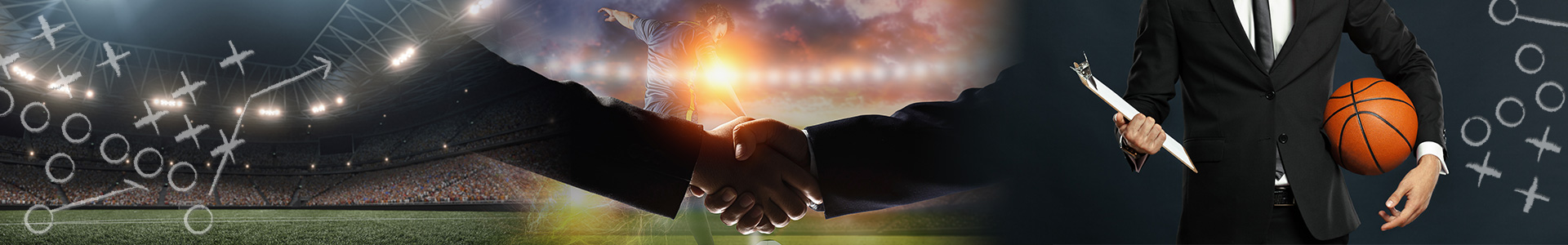 Handshake in front of a sports field