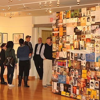 Chip Kidd displaying his book jackets here at the Memorial Gallery