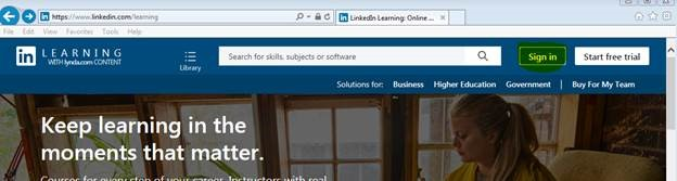 Linkedin Learning Sign In Page