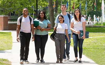 Walking Students Touring Campus