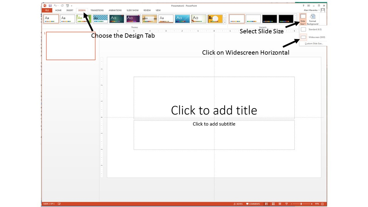 PowerPoint interface showing how to select the right size.