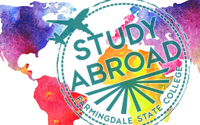 Colorful image of the world continents and the Study Abroad logo.