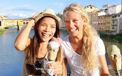 Two female students smiling in Florence, Italy