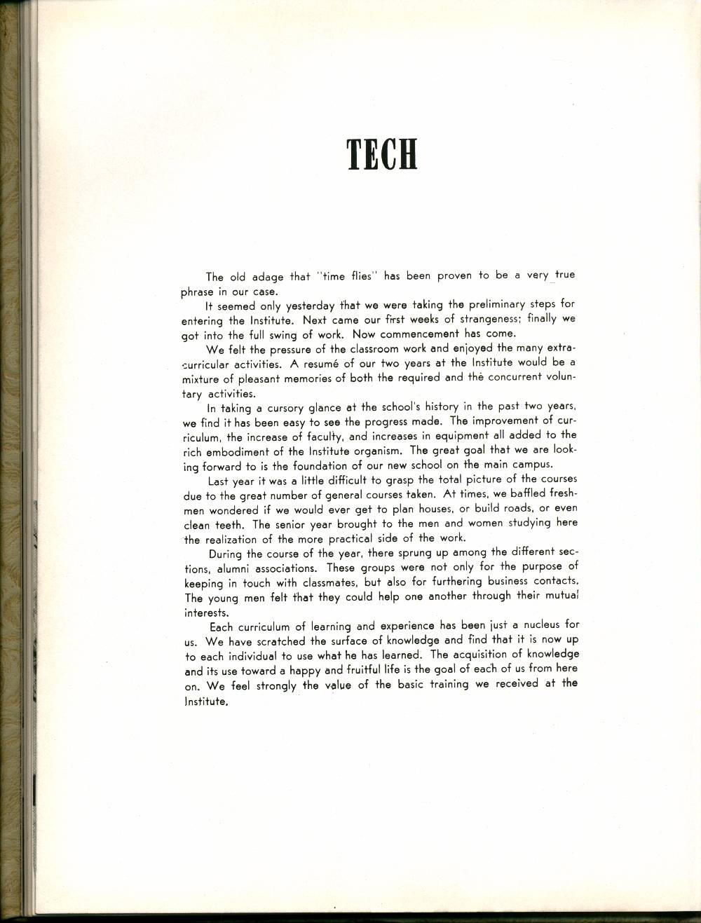 "Write-up about the 'Tech Division' from ""The Islander"" yearbook in 1949"
