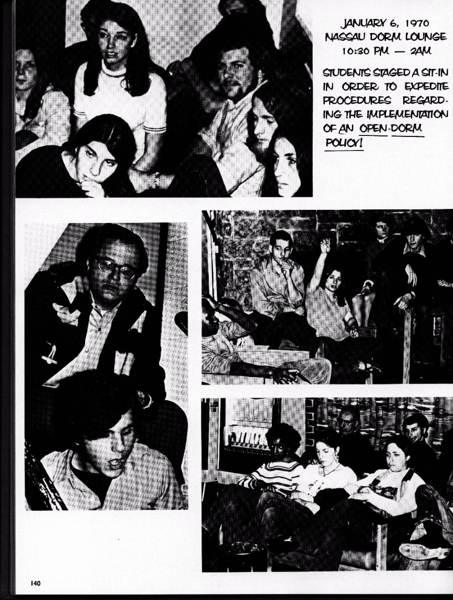student sit-in protests including one held on January 6, 1970 in the Nassau Dorm Lounge.