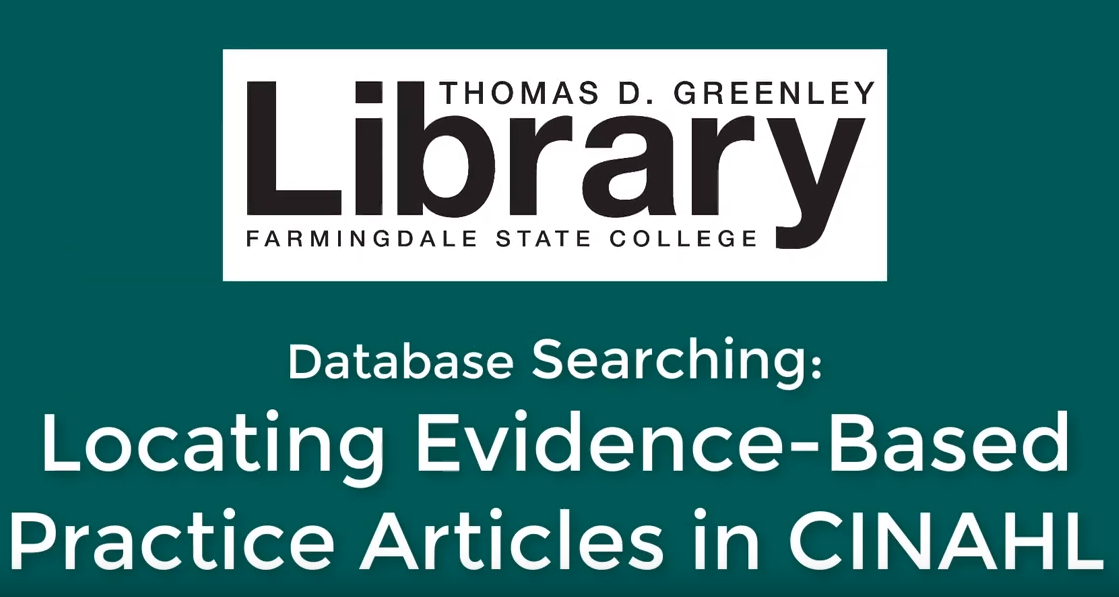 Screenshot of video on locating evidence based practice articles in CINAHL