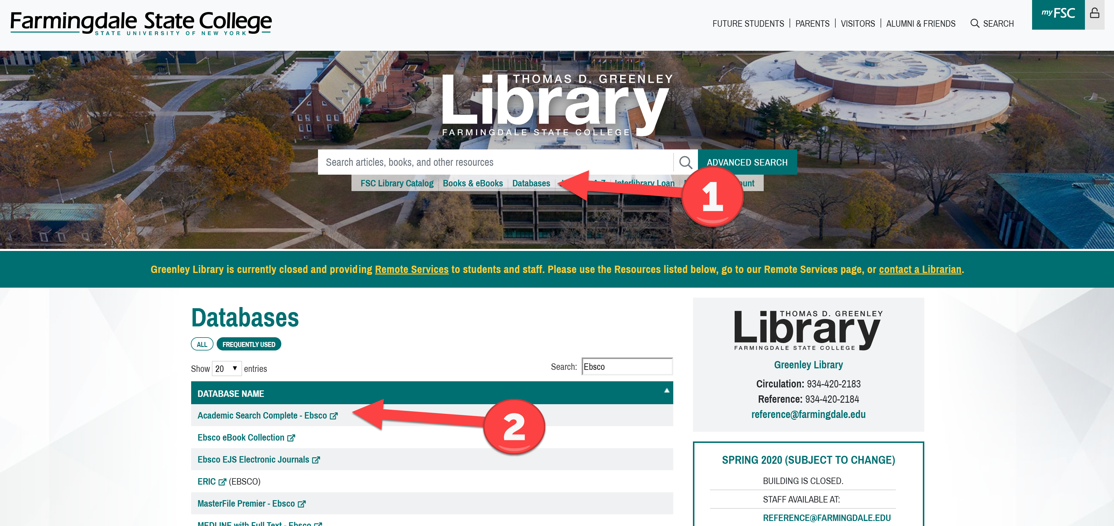 How to get to the database from the library homepage.