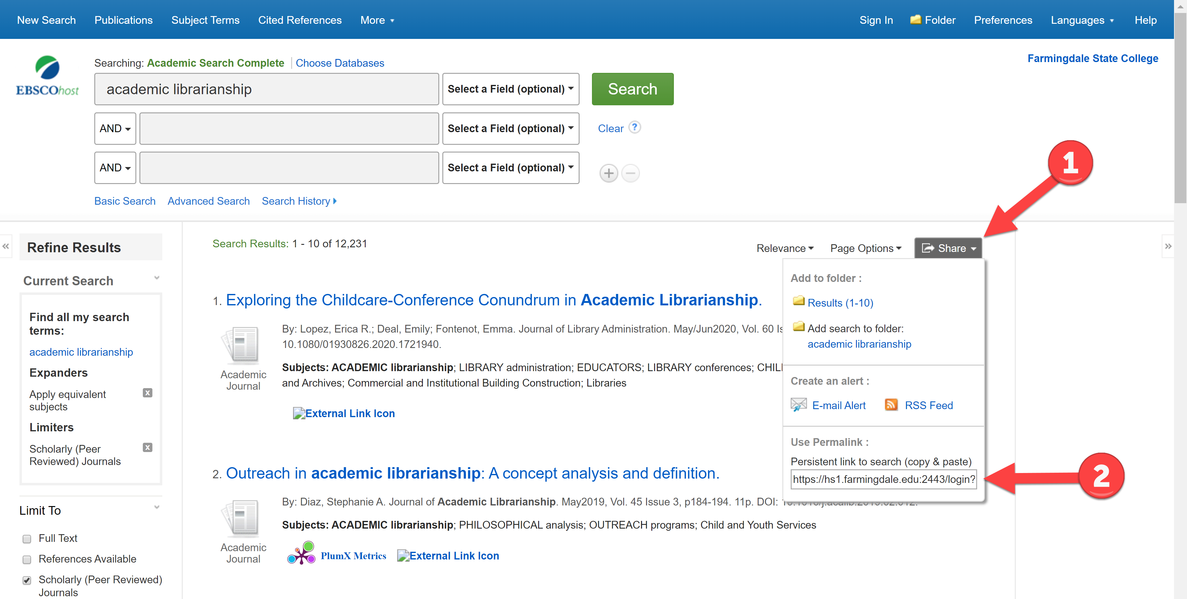 How to save a link to a search in an Ebsco database.