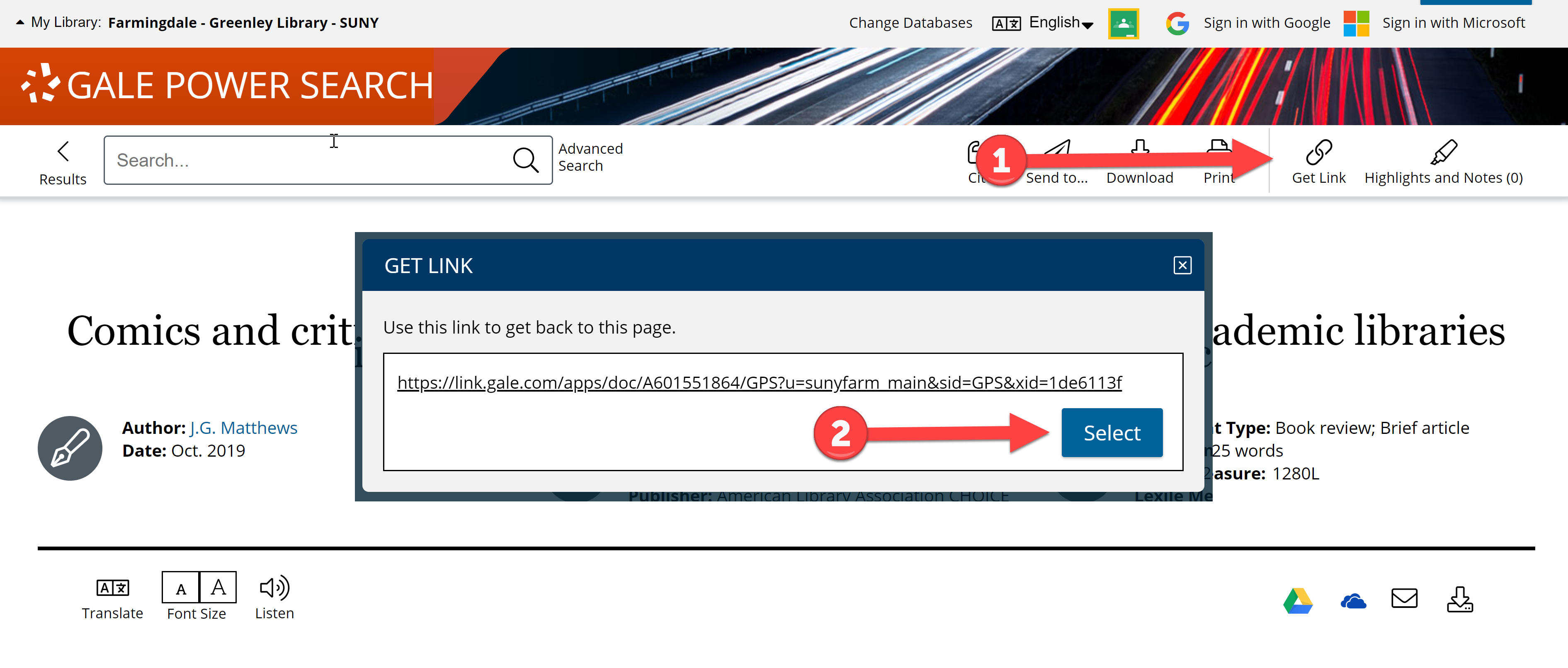 How to save the link to an article in a Gale database.