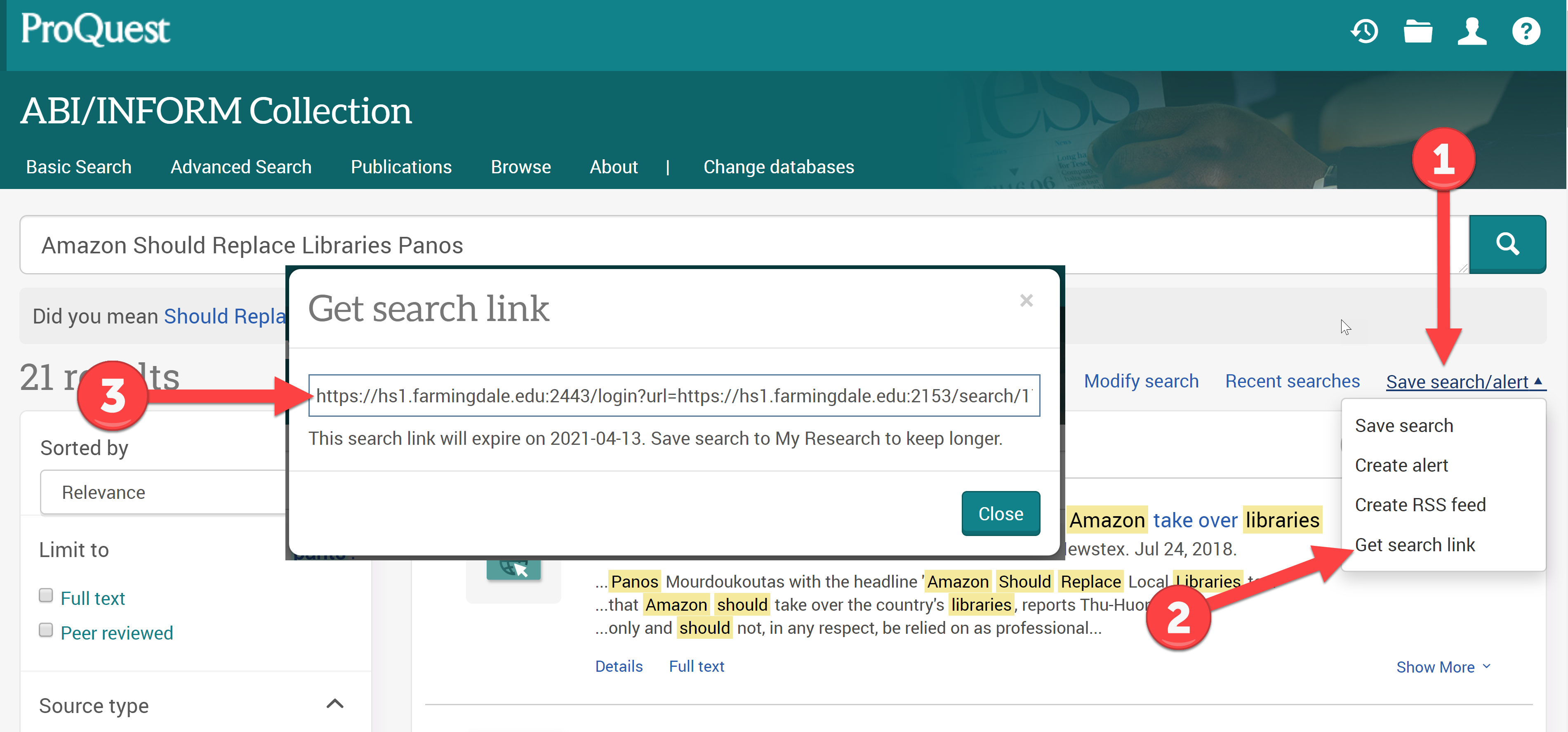 How to save a link to a search in a Proquest database.