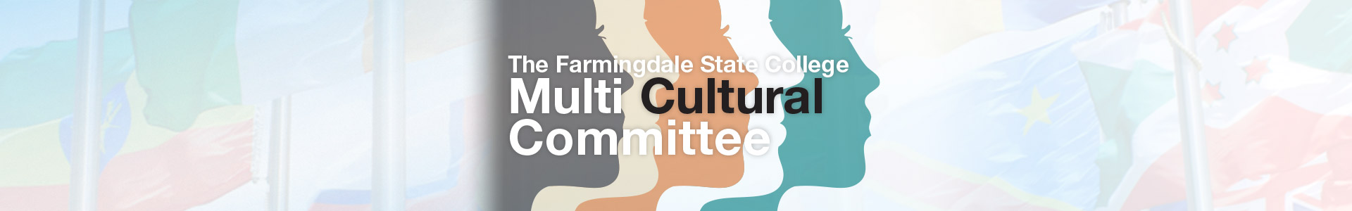 The Farmingdale State College Multicultural Committee, five multi-colored silhouettes as background.