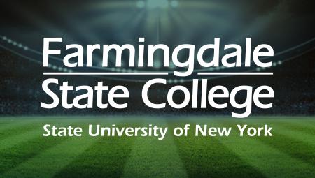 farmingdale state college logo over soccer field