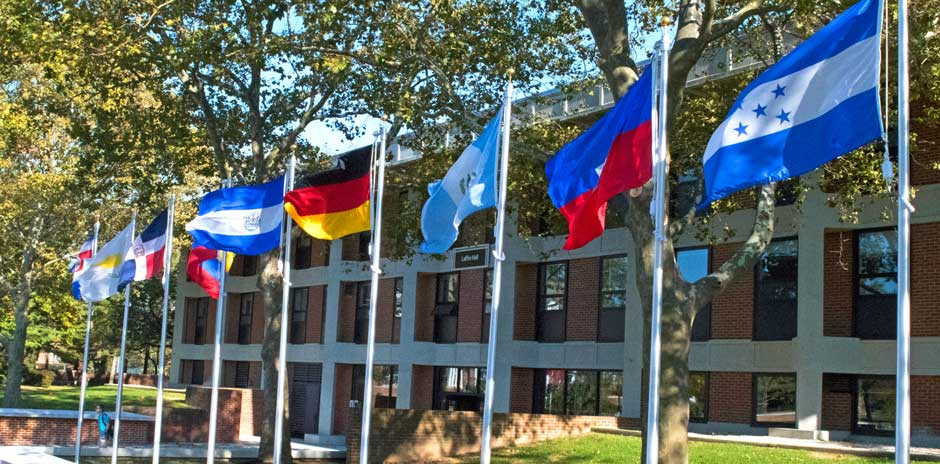 International flags at Bunche Plaza