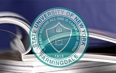 Stack of catalog with official SUNY Farmingdale seal